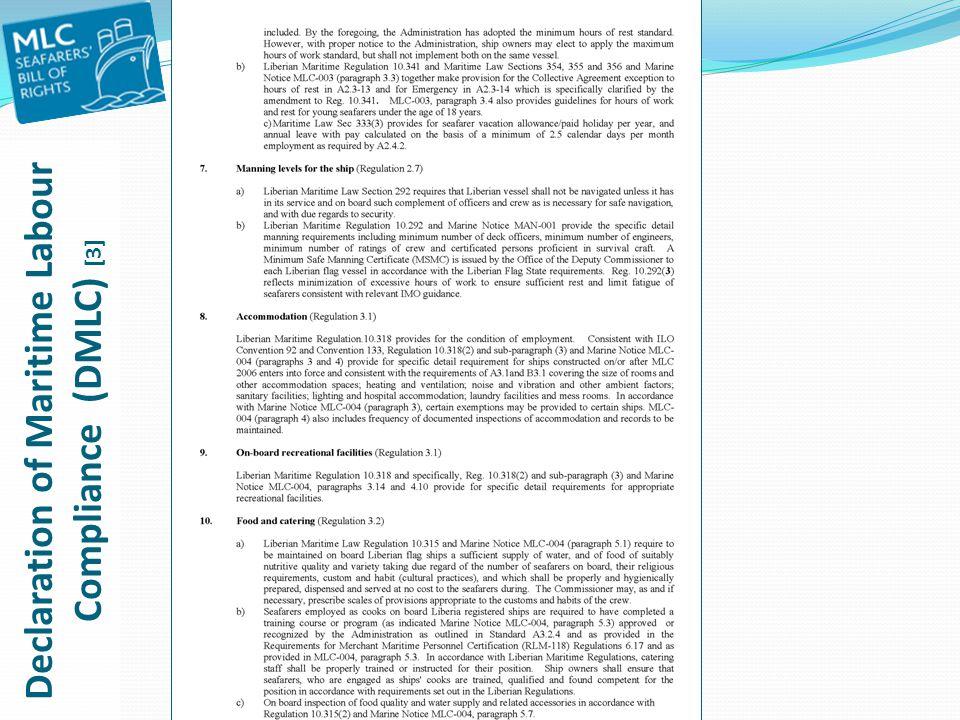 Declaration of Maritime Labour Compliance (DMLC) [3]